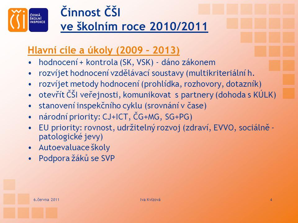 Činnost ČŠI ve školním roce 2010/2011 Hlavní cíle a úkoly (2009 – 2013) hodnocení + kontrola (SK, VSK) - dáno zákonem rozvíjet hodnocení vzdělávací soustavy (multikriteriální h.