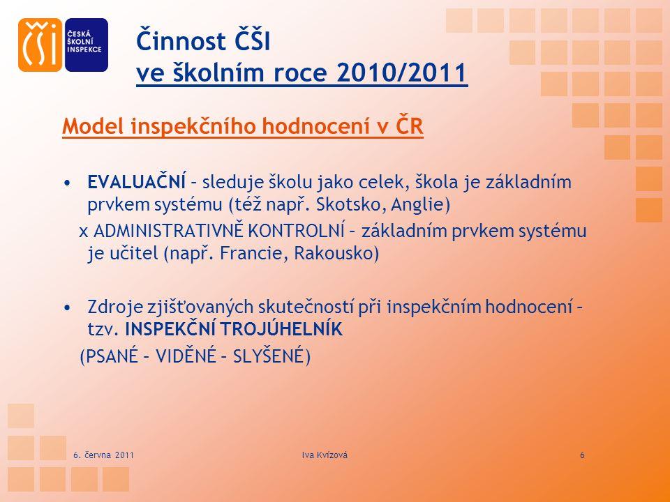 Činnost ČŠI ve školním roce 2010/2011 Model inspekčního hodnocení v ČR EVALUAČNÍ – sleduje školu jako celek, škola je základním prvkem systému (též na