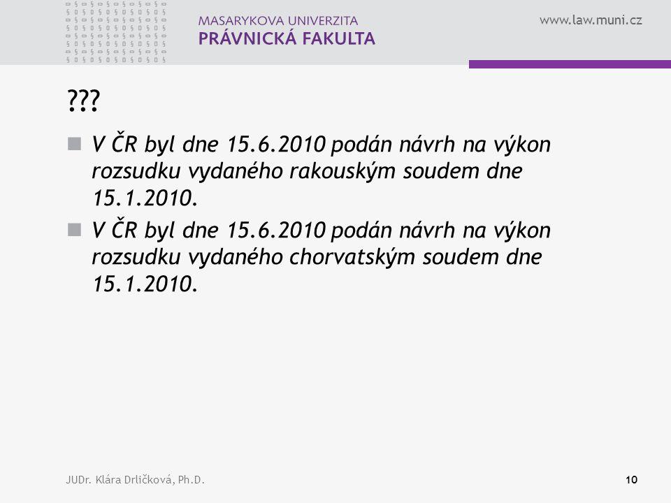 www.law.muni.cz JUDr. Klára Drličková, Ph.D.10 ??.