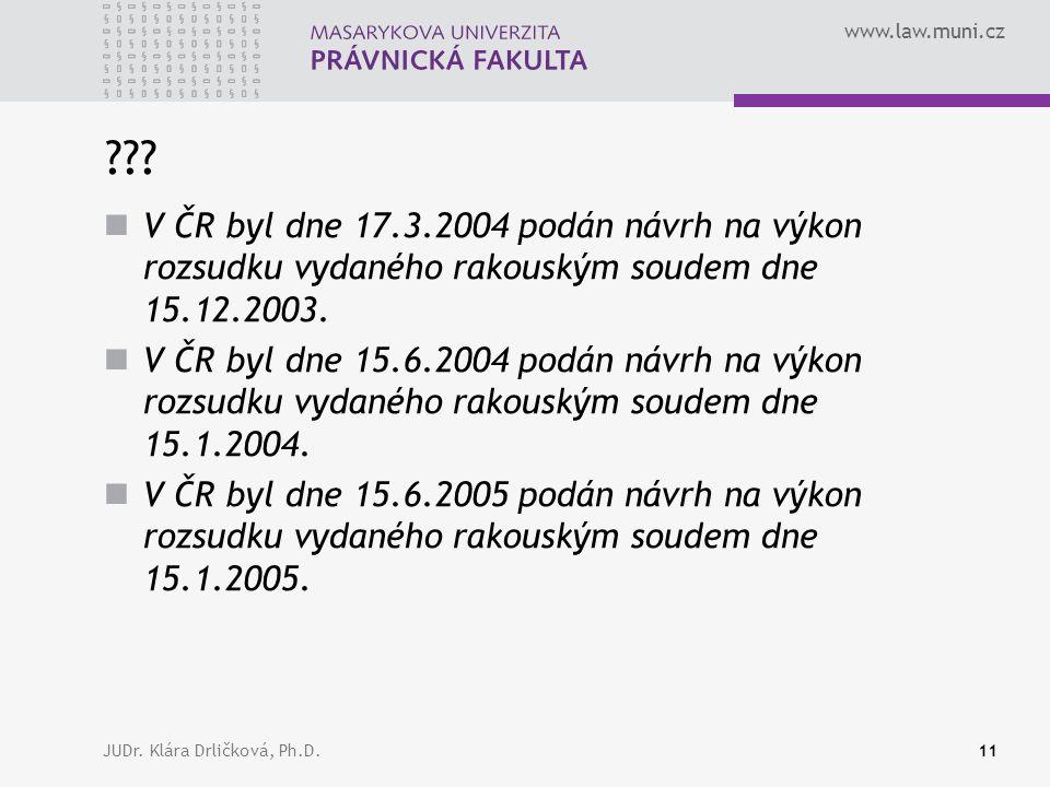 www.law.muni.cz JUDr. Klára Drličková, Ph.D.11 ??.