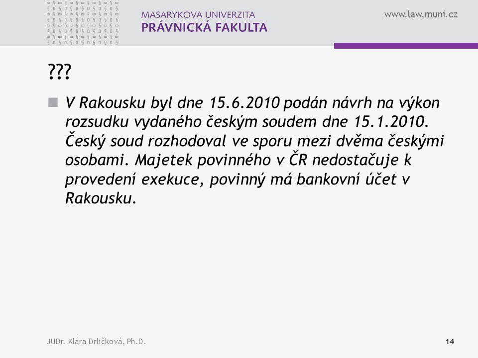 www.law.muni.cz JUDr. Klára Drličková, Ph.D.14 ??.