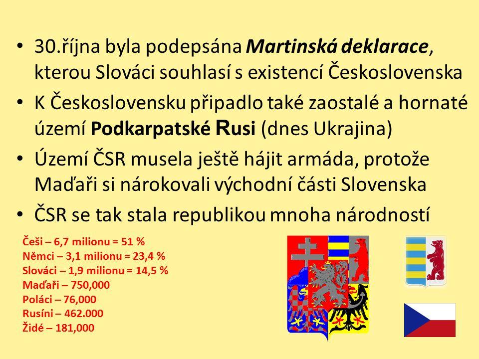 30.října byla podepsána Martinská deklarace, kterou Slováci souhlasí s existencí Československa K Československu připadlo také zaostalé a hornaté území Podkarpatské R usi (dnes Ukrajina) Území ČSR musela ještě hájit armáda, protože Maďaři si nárokovali východní části Slovenska ČSR se tak stala republikou mnoha národností Češi – 6,7 milionu = 51 % Němci – 3,1 milionu = 23,4 % Slováci – 1,9 milionu = 14,5 % Maďaři – 750,000 Poláci – 76,000 Rusíni – 462.000 Židé – 181,000