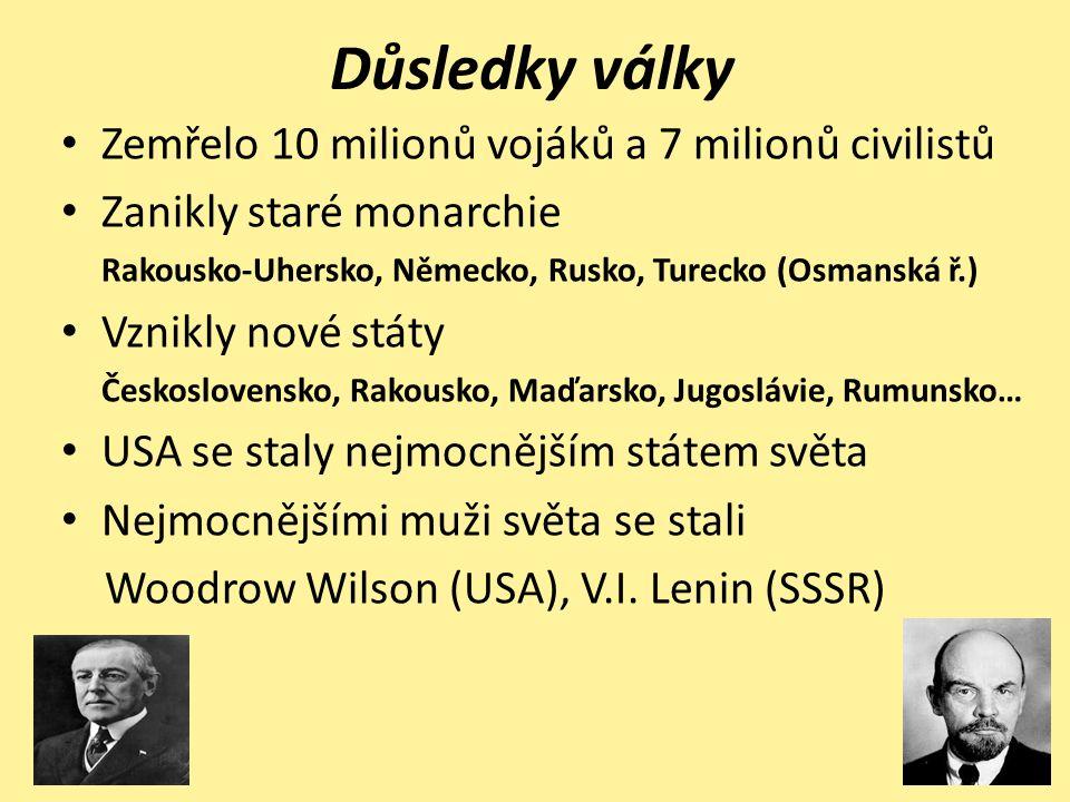 Důsledky války Zemřelo 10 milionů vojáků a 7 milionů civilistů Zanikly staré monarchie Rakousko-Uhersko, Německo, Rusko, Turecko (Osmanská ř.) Vznikly nové státy Československo, Rakousko, Maďarsko, Jugoslávie, Rumunsko… USA se staly nejmocnějším státem světa Nejmocnějšími muži světa se stali Woodrow Wilson (USA), V.I.
