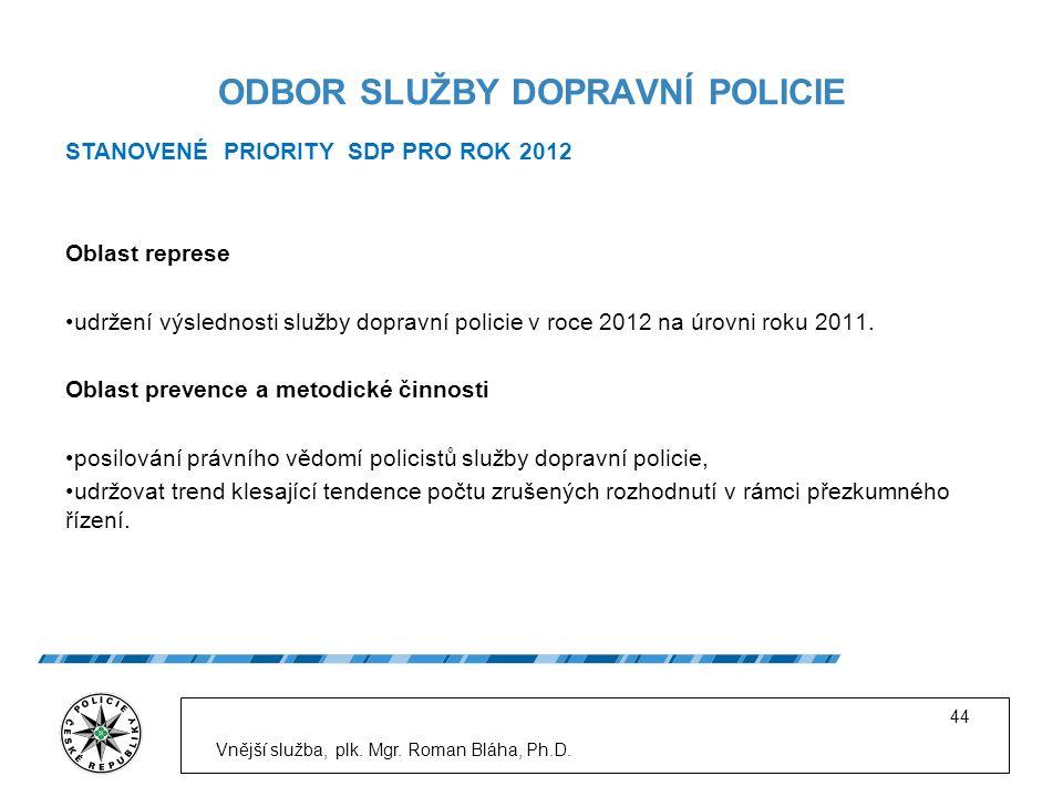 Oblast represe udržení výslednosti služby dopravní policie v roce 2012 na úrovni roku 2011.