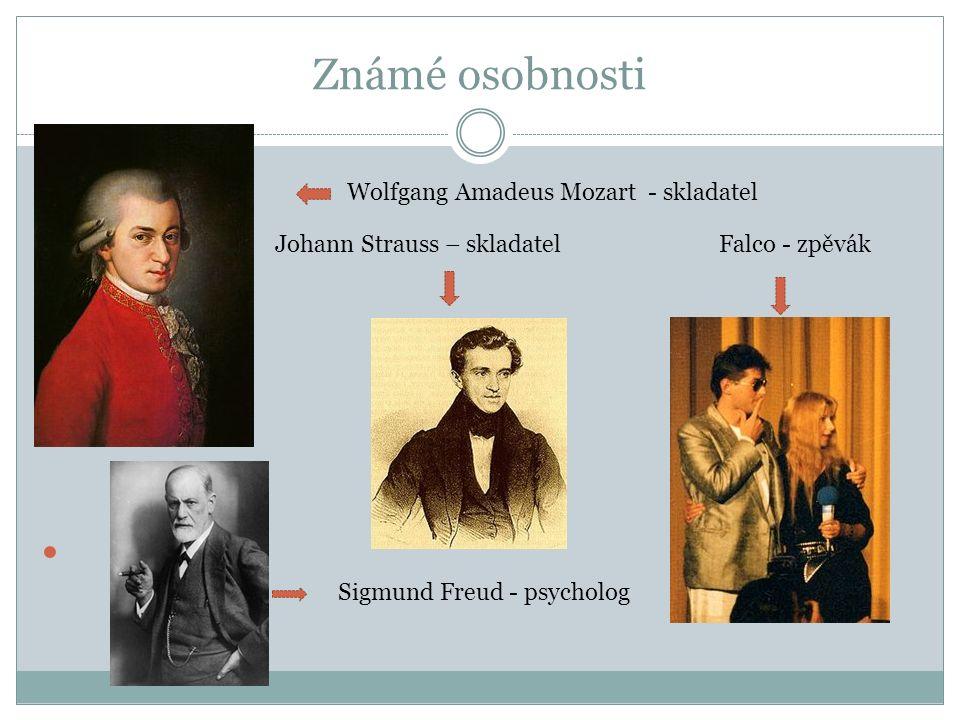 Známé osobnosti Wolfgang Amadeus Mozart - skladatel Johann Strauss – skladatel Falco - zpěvák Sigmund Freud - psycholog