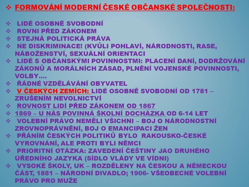  FORMOVÁNÍ MODERNÍ ČESKÉ OBČANSKÉ SPOLEČNOSTI:  LIDÉ OSOBNĚ SVOBODNÍ  ROVNI PŘED ZÁKONEM  STEJNÁ POLITICKÁ PRÁVA  NE DISKRIMINACE! (KVŮLI POHLAVÍ