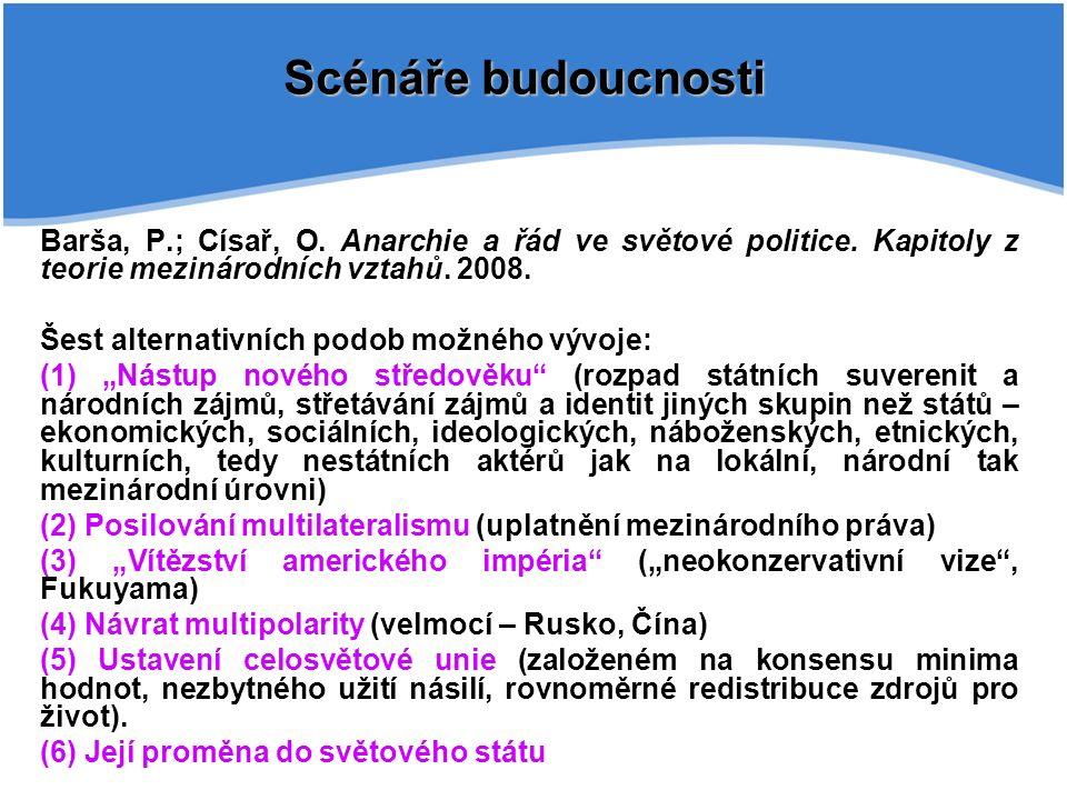 Barša, P.; Císař, O. Anarchie a řád ve světové politice.