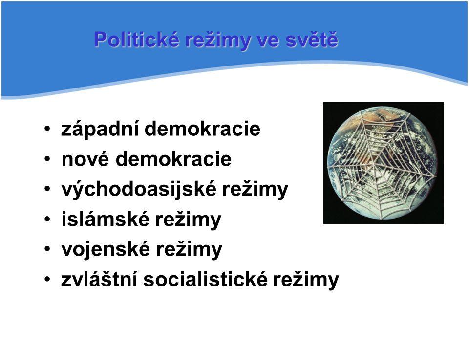 Politické režimy ve světě západní demokracie nové demokracie východoasijské režimy islámské režimy vojenské režimy zvláštní socialistické režimy