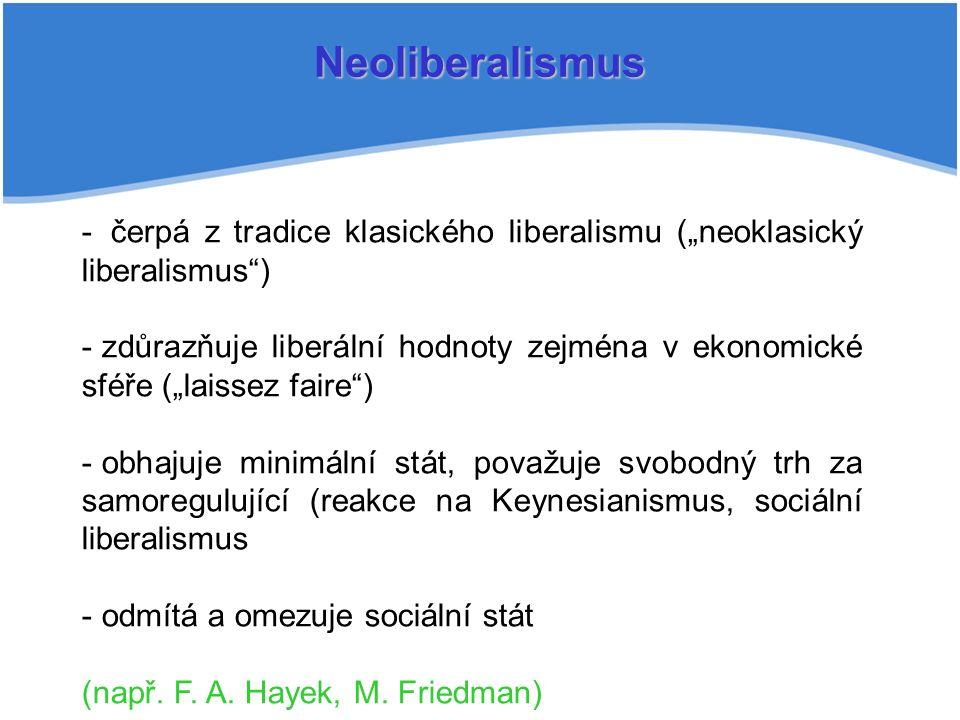 """Neoliberalismus - čerpá z tradice klasického liberalismu (""""neoklasický liberalismus ) - zdůrazňuje liberální hodnoty zejména v ekonomické sféře (""""laissez faire ) - obhajuje minimální stát, považuje svobodný trh za samoregulující (reakce na Keynesianismus, sociální liberalismus - odmítá a omezuje sociální stát (např."""