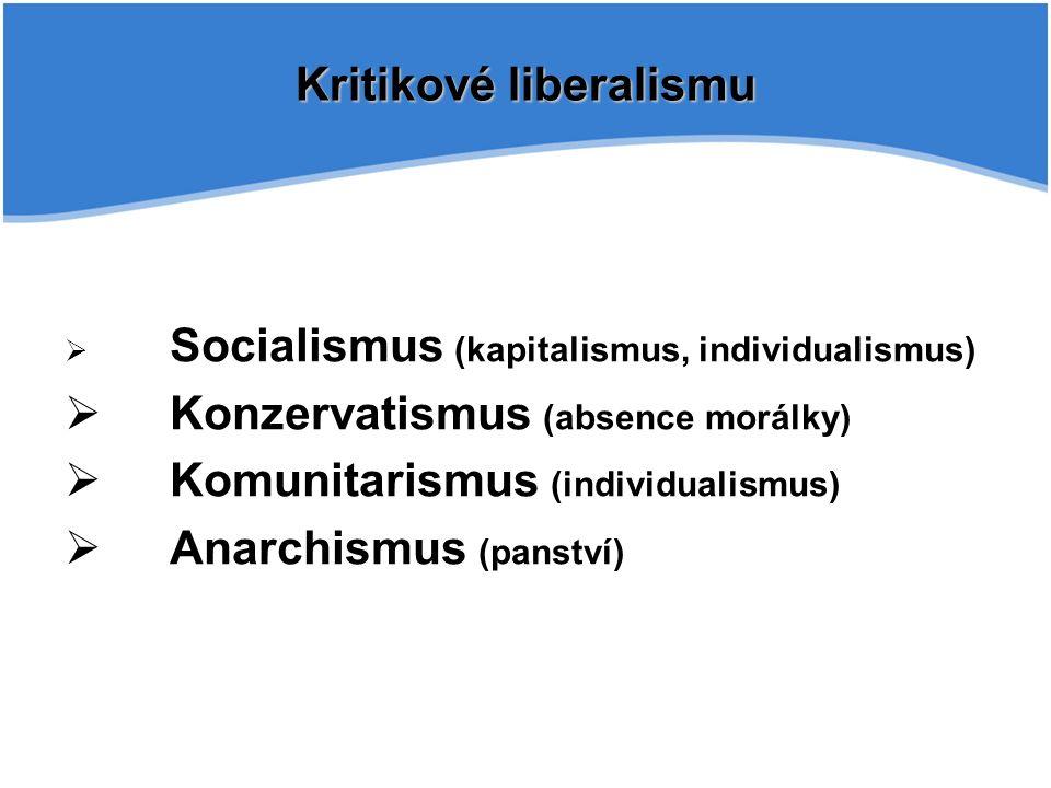 Kritikové liberalismu  Socialismus (kapitalismus, individualismus)  Konzervatismus (absence morálky)  Komunitarismus (individualismus)  Anarchismus (panství)