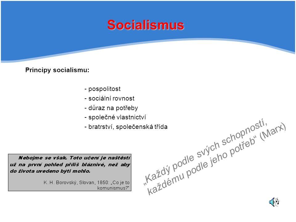 """Socialismus Principy socialismu: - pospolitost - sociální rovnost - důraz na potřeby - společné vlastnictví - bratrství, společenská třída """"Každý podle svých schopností, každému podle jeho potřeb (Marx)"""
