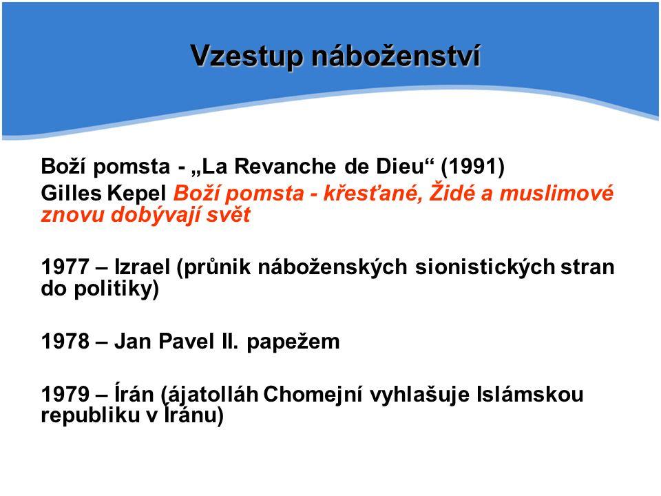 """Vzestup náboženství Boží pomsta - """"La Revanche de Dieu (1991) Gilles Kepel Boží pomsta - křesťané, Židé a muslimové znovu dobývají svět 1977 – Izrael (průnik náboženských sionistických stran do politiky) 1978 – Jan Pavel II."""