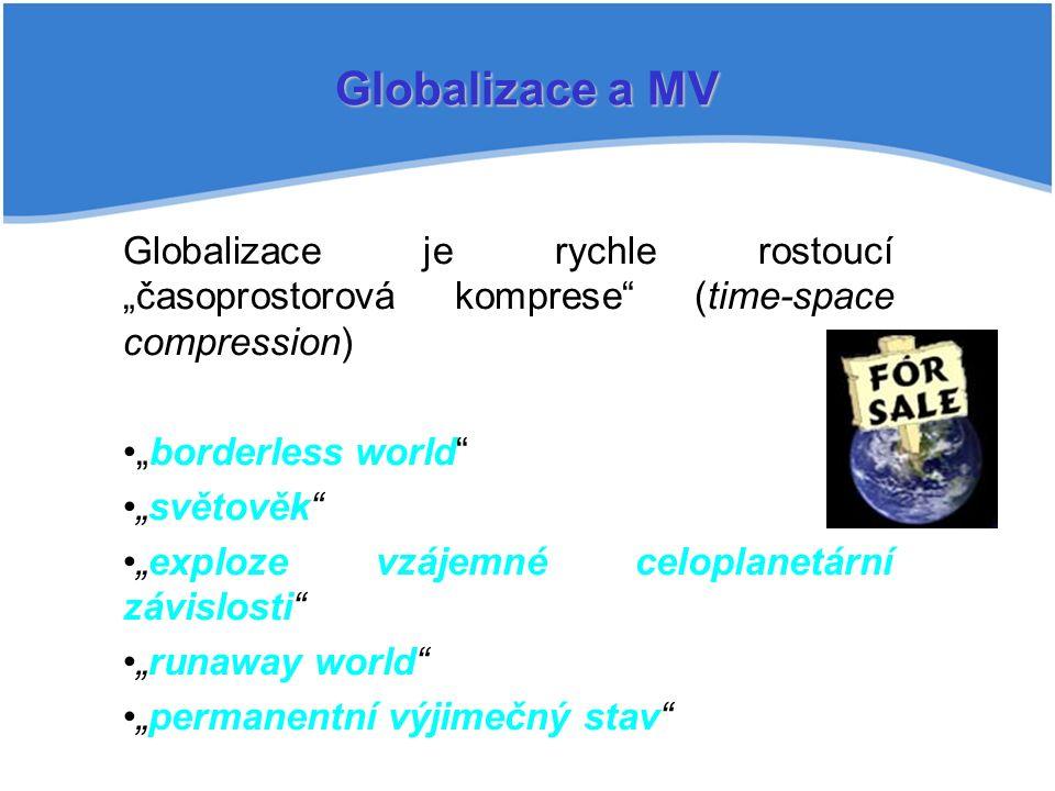 """Globalizace a MV Globalizace je rychle rostoucí """"časoprostorová komprese (time-space compression) """"borderless world """"světověk """"exploze vzájemné celoplanetární závislosti """"runaway world """"permanentní výjimečný stav"""