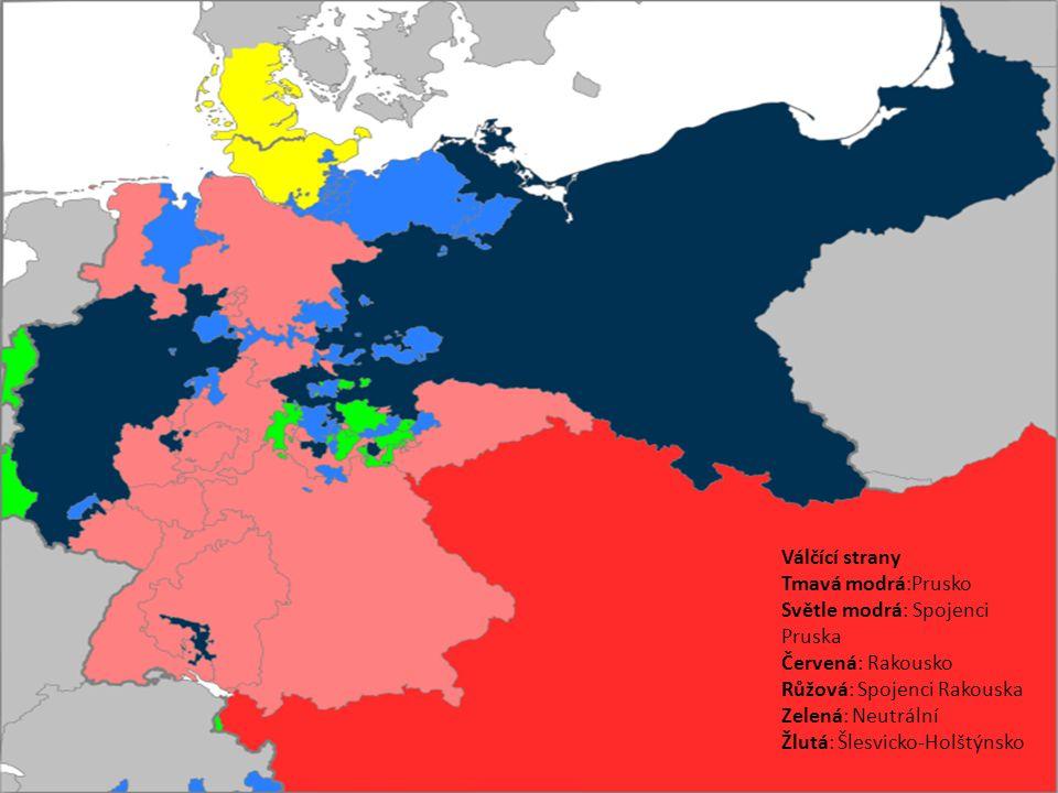 Válčící strany Tmavá modrá:Prusko Světle modrá: Spojenci Pruska Červená: Rakousko Růžová: Spojenci Rakouska Zelená: Neutrální Žlutá: Šlesvicko-Holštýn
