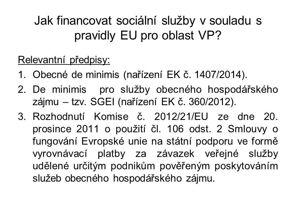 Jak financovat sociální služby v souladu s pravidly EU pro oblast VP? Relevantní předpisy: 1.Obecné de minimis (nařízení EK č. 1407/2014). 2.De minimi
