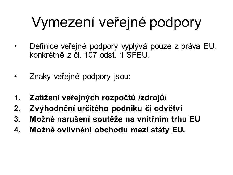 Vymezení veřejné podpory Definice veřejné podpory vyplývá pouze z práva EU, konkrétně z čl. 107 odst. 1 SFEU. Znaky veřejné podpory jsou: 1.Zatížení v