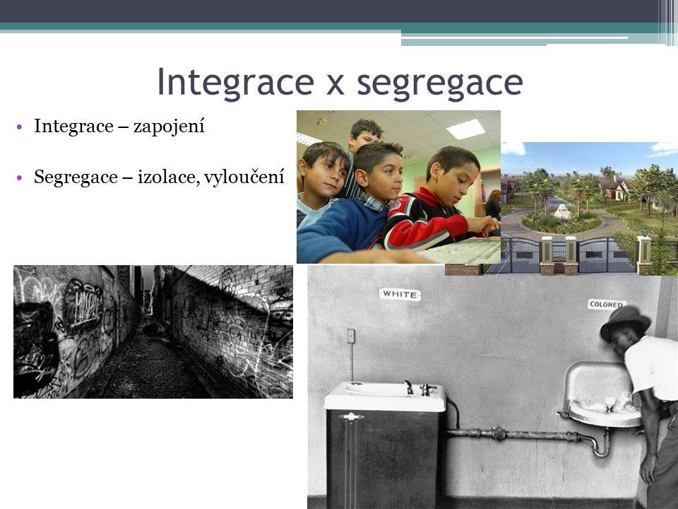 Integrace x segregace Integrace – zapojení Segregace – izolace, vyloučení