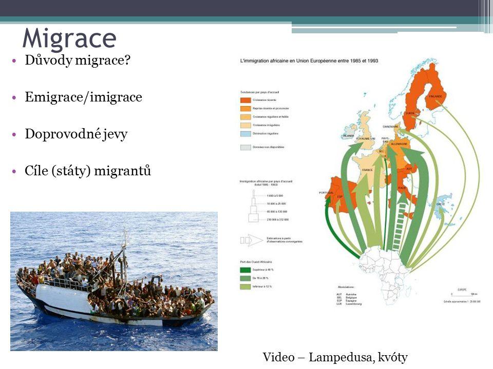 Migrace Důvody migrace? Emigrace/imigrace Doprovodné jevy Cíle (státy) migrantů Video – Lampedusa, kvóty