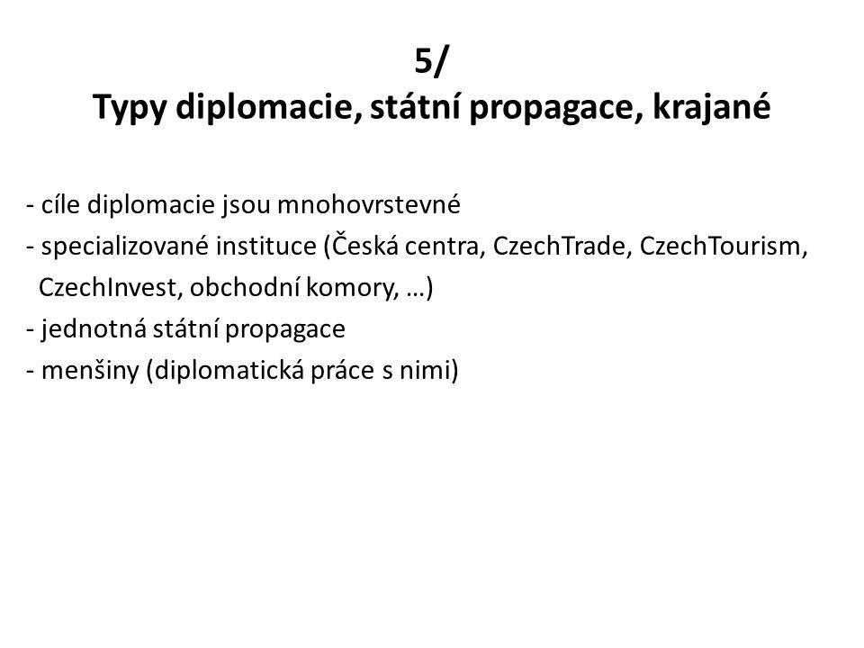 5/ Typy diplomacie, státní propagace, krajané - cíle diplomacie jsou mnohovrstevné - specializované instituce (Česká centra, CzechTrade, CzechTourism,