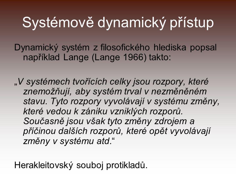 """Systémově dynamický přístup Dynamický systém z filosofického hlediska popsal například Lange (Lange 1966) takto: """"V systémech tvořících celky jsou rozpory, které znemožňují, aby systém trval v nezměněném stavu."""