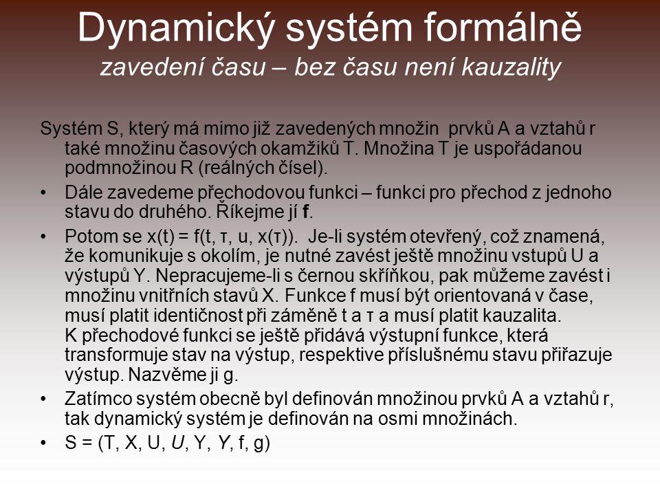 Dynamický systém formálně zavedení času – bez času není kauzality Systém S, který má mimo již zavedených množin prvků A a vztahů r také množinu časových okamžiků T.