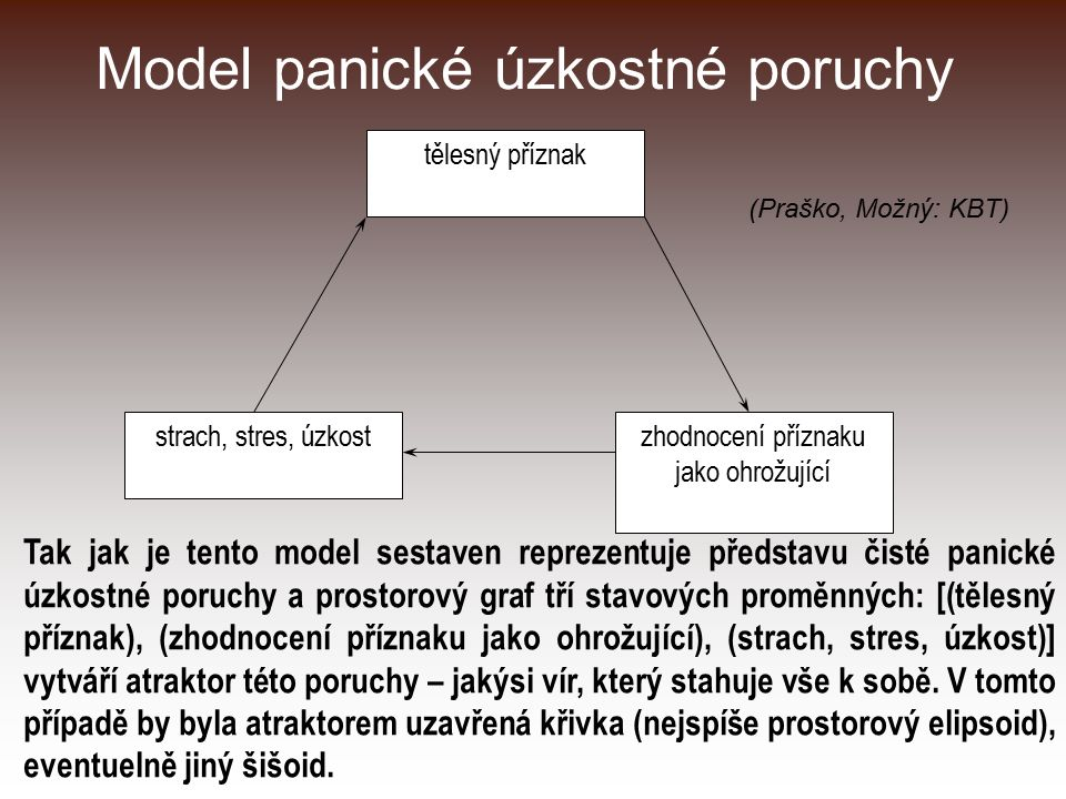 Model panické úzkostné poruchy tělesný příznak zhodnocení příznaku jako ohrožující strach, stres, úzkost Tak jak je tento model sestaven reprezentuje představu čisté panické úzkostné poruchy a prostorový graf tří stavových proměnných: [(tělesný příznak), (zhodnocení příznaku jako ohrožující), (strach, stres, úzkost)] vytváří atraktor této poruchy – jakýsi vír, který stahuje vše k sobě.