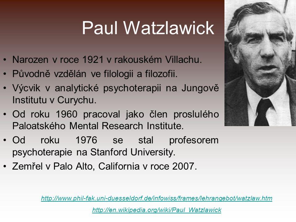Paul Watzlawick Narozen v roce 1921 v rakouském Villachu. Původně vzdělán ve filologii a filozofii. Výcvik v analytické psychoterapii na Jungově Insti