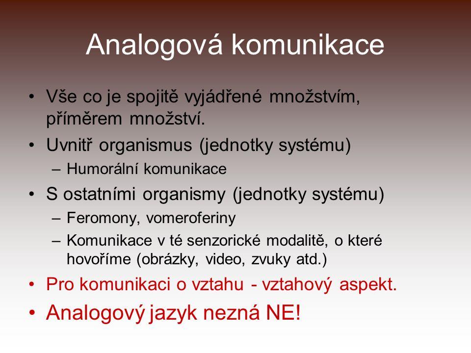 Analogová komunikace Vše co je spojitě vyjádřené množstvím, příměrem množství. Uvnitř organismus (jednotky systému) –Humorální komunikace S ostatními