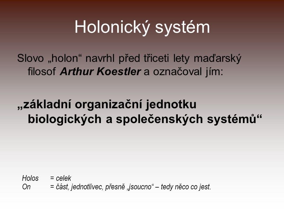 """Holonický systém Slovo """"holon"""" navrhl před třiceti lety maďarský filosof Arthur Koestler a označoval jím: """"základní organizační jednotku biologických"""
