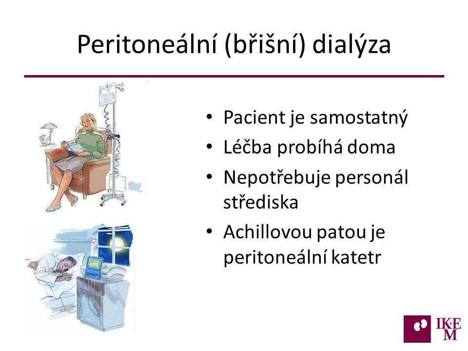 Peritoneální (břišní) dialýza Pacient je samostatný Léčba probíhá doma Nepotřebuje personál střediska Achillovou patou je peritoneální katetr