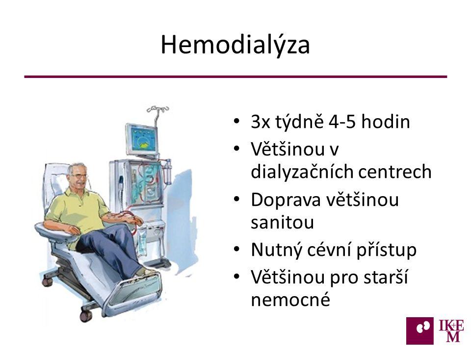 Hemodialýza 3x týdně 4-5 hodin Většinou v dialyzačních centrech Doprava většinou sanitou Nutný cévní přístup Většinou pro starší nemocné