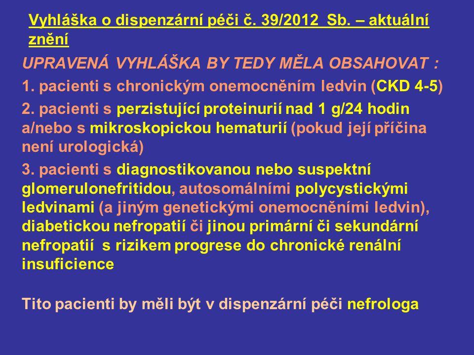 Vyhláška o dispenzární péči č. 39/2012 Sb.