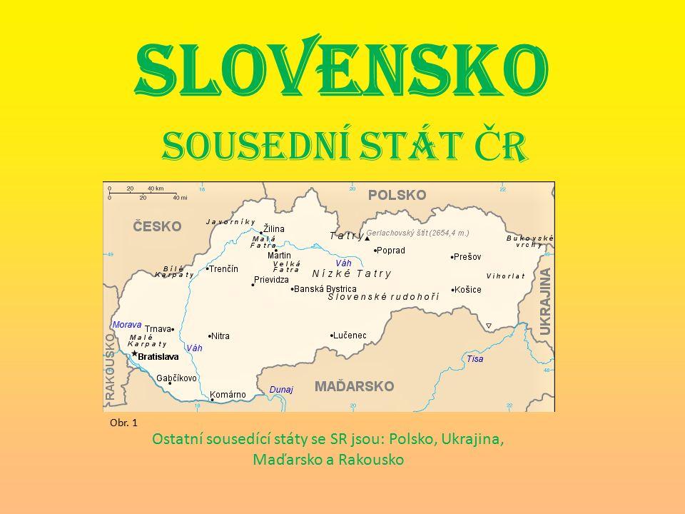 SLOVENSKO Sousední stát Č R Ostatní sousedící státy se SR jsou: Polsko, Ukrajina, Maďarsko a Rakousko Obr.