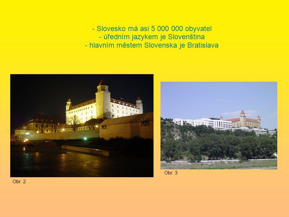 - Slovesko má asi 5 000 000 obyvatel - úředním jazykem je Slovenština - hlavním městem Slovenska je Bratislava Obr.