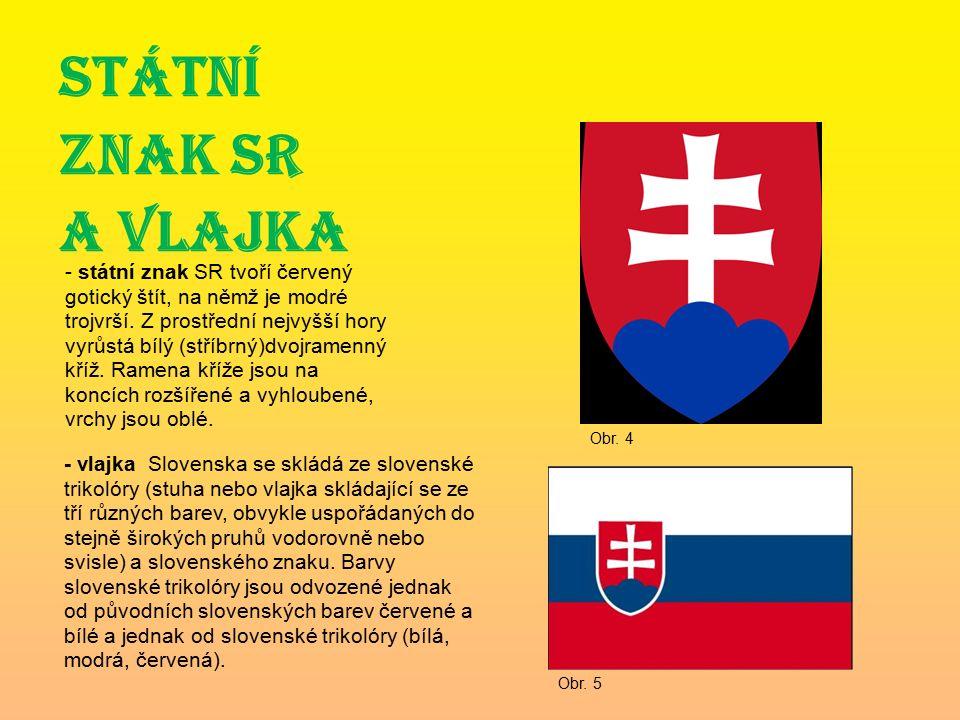 STÁTNÍ ZNAK SR A VLAJKA - státní znak SR tvoří červený gotický štít, na němž je modré trojvrší.