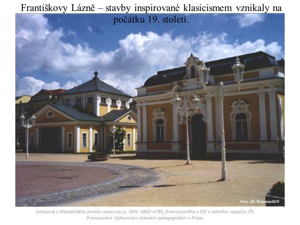 Františkovy Lázně – stavby inspirované klasicismem vznikaly na počátku 19.