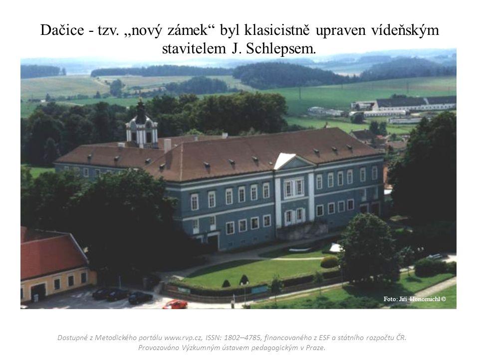 """Dačice - tzv. """"nový zámek byl klasicistně upraven vídeňským stavitelem J."""