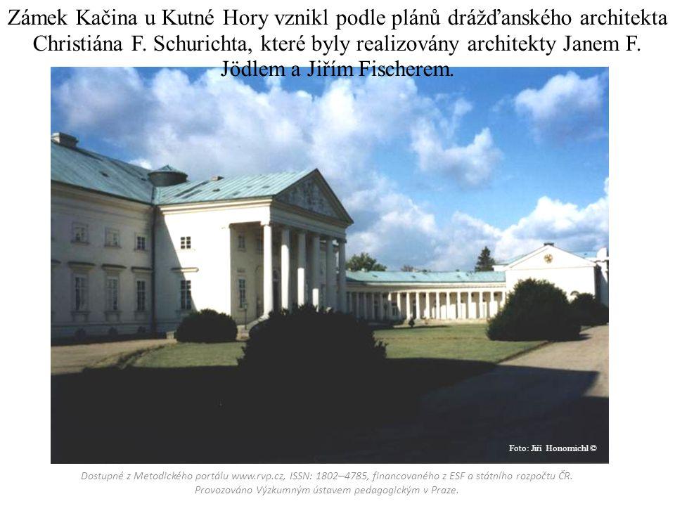 Zámek Kačina u Kutné Hory vznikl podle plánů drážďanského architekta Christiána F.