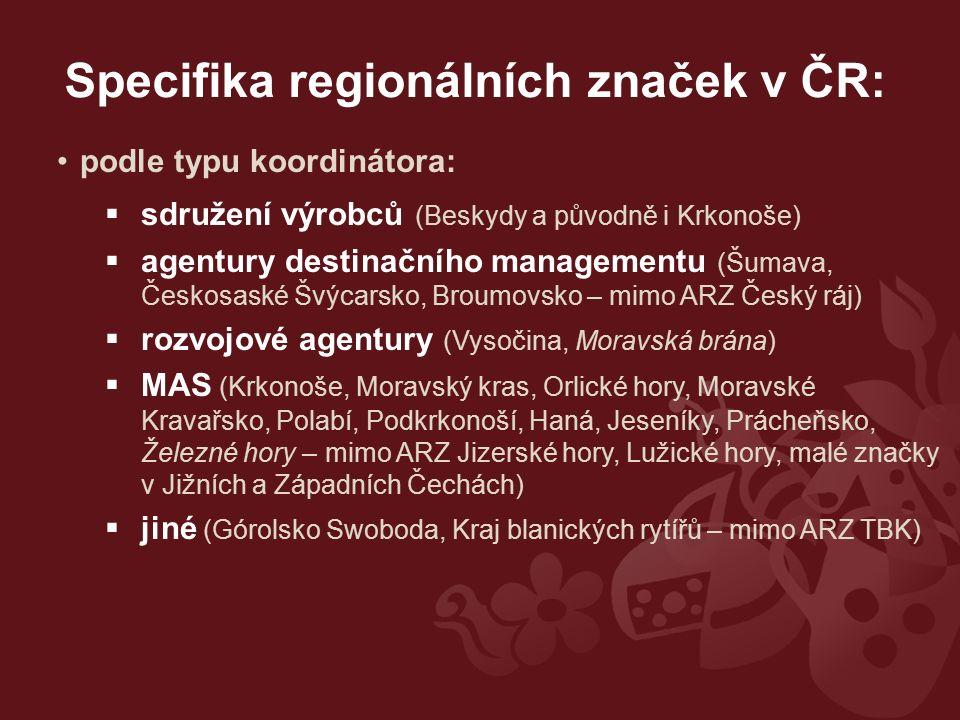 podle typu koordinátora:  sdružení výrobců (Beskydy a původně i Krkonoše)  agentury destinačního managementu (Šumava, Českosaské Švýcarsko, Broumovs
