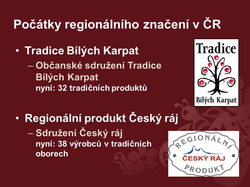 Počátky regionálního značení v ČR Tradice Bílých Karpat –Občanské sdružení Tradice Bílých Karpat nyní: 32 tradičních produktů Regionální produkt Český