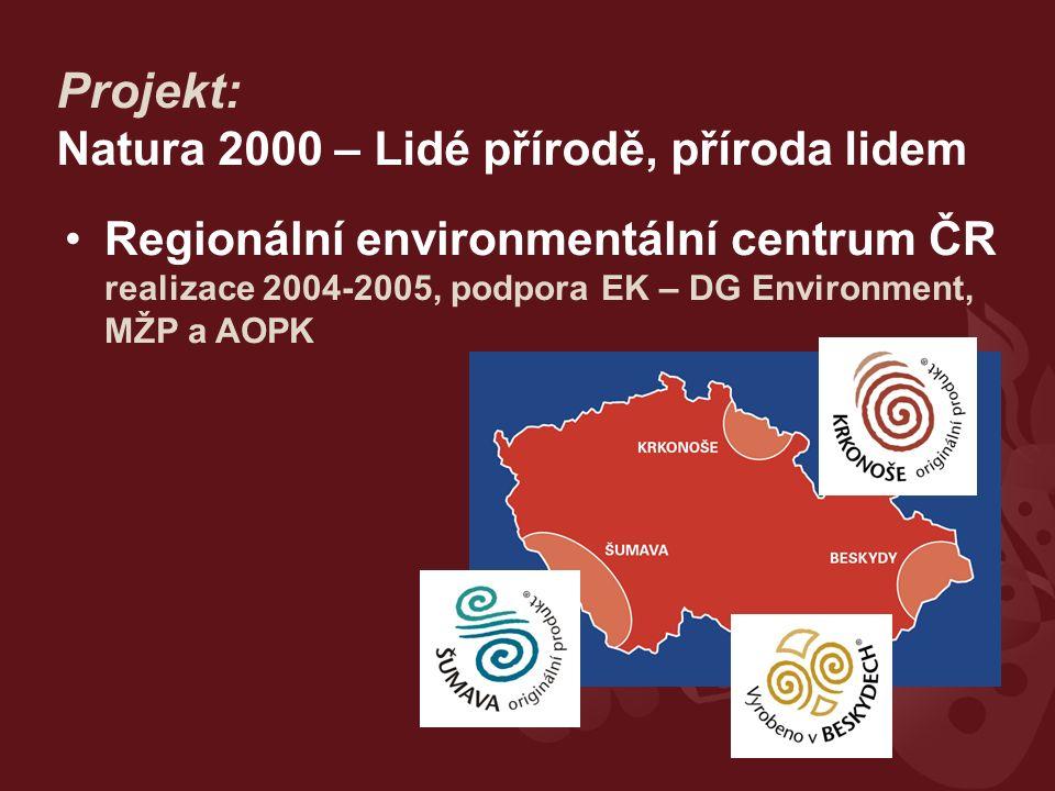 Projekt: Natura 2000 – Lidé přírodě, příroda lidem Regionální environmentální centrum ČR realizace 2004-2005, podpora EK – DG Environment, MŽP a AOPK