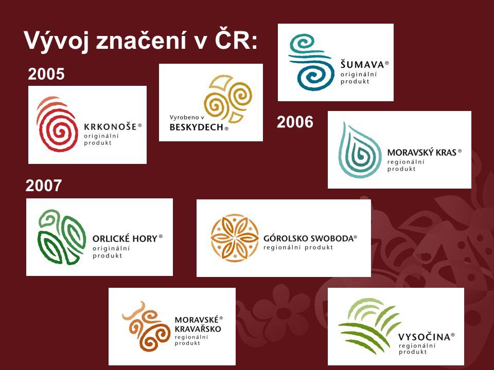 Vývoj značení v ČR: 2005 2006 2007