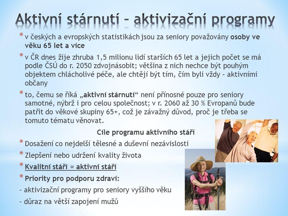 * v českých a evropských statistikách jsou za seniory považovány osoby ve věku 65 let a více * v ČR dnes žije zhruba 1,5 milionu lidí starších 65 let a jejich počet se má podle ČSÚ do r.