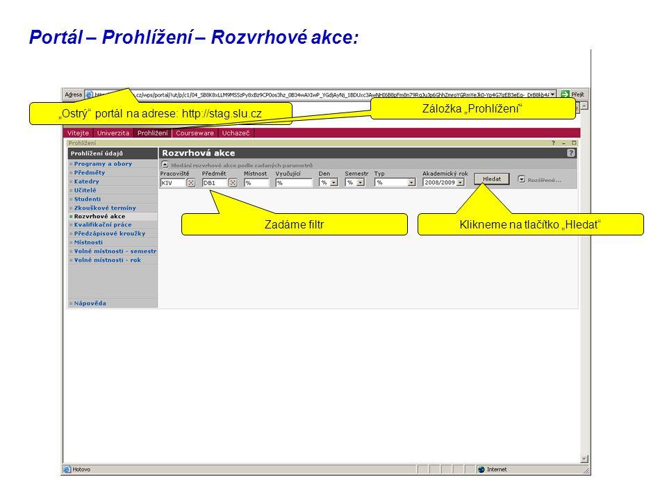 """Portál – Prohlížení – Rozvrhové akce: Zadáme filtr Klikneme na tlačítko """"Hledat """"Ostrý portál na adrese: http://stag.slu.cz Záložka """"Prohlížení"""