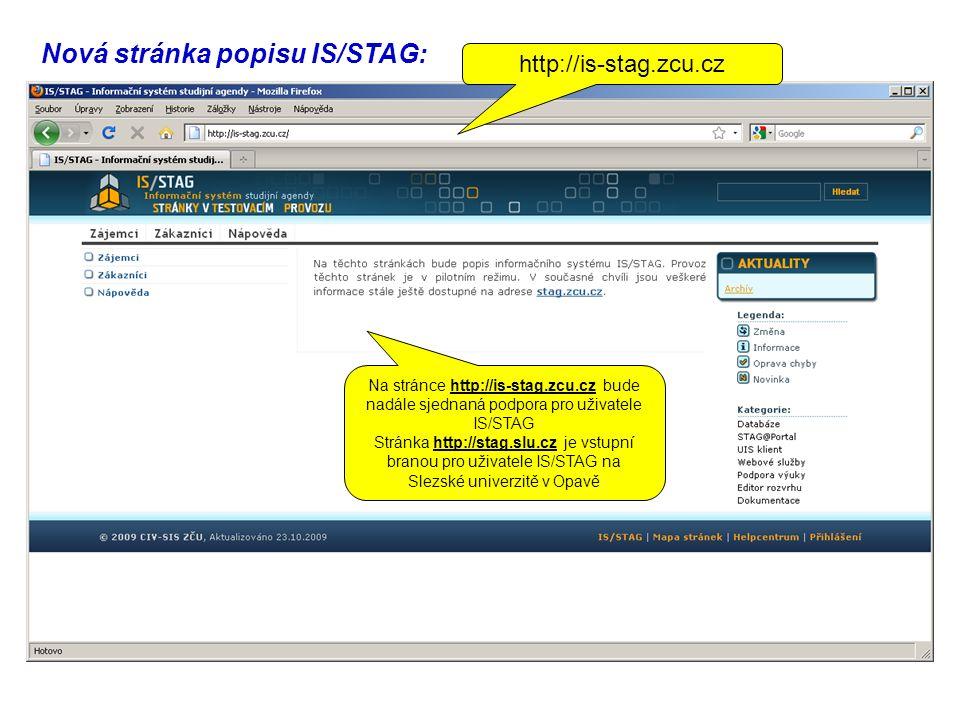 Nová stránka popisu IS/STAG: http://is-stag.zcu.cz Na stránce http://is-stag.zcu.cz bude nadále sjednaná podpora pro uživatele IS/STAG Stránka http://stag.slu.cz je vstupní branou pro uživatele IS/STAG na Slezské univerzitě v Opavě
