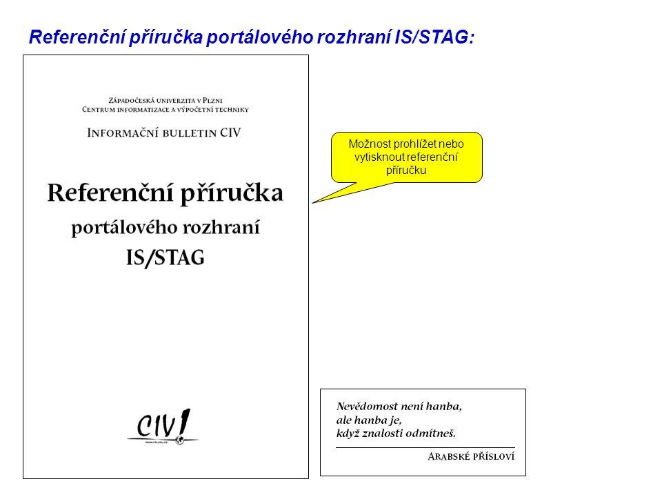 Referenční příručka portálového rozhraní IS/STAG: Možnost prohlížet nebo vytisknout referenční příručku