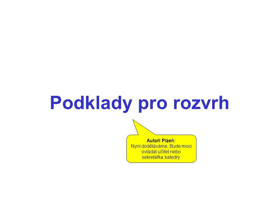 Podklady pro rozvrh Autoři Plzeň: Nyní doděláváme.