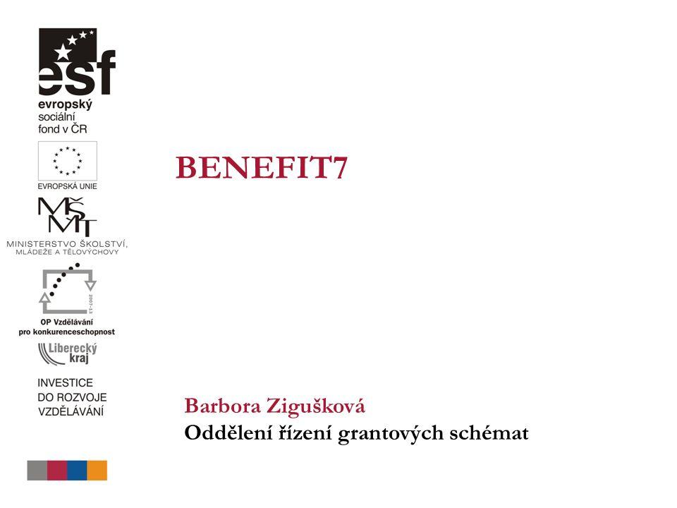BENEFIT7 Barbora Zigušková Oddělení řízení grantových schémat