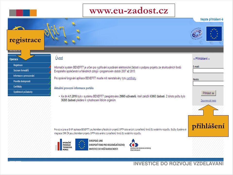 registrace přihlášení www.eu-zadost.cz
