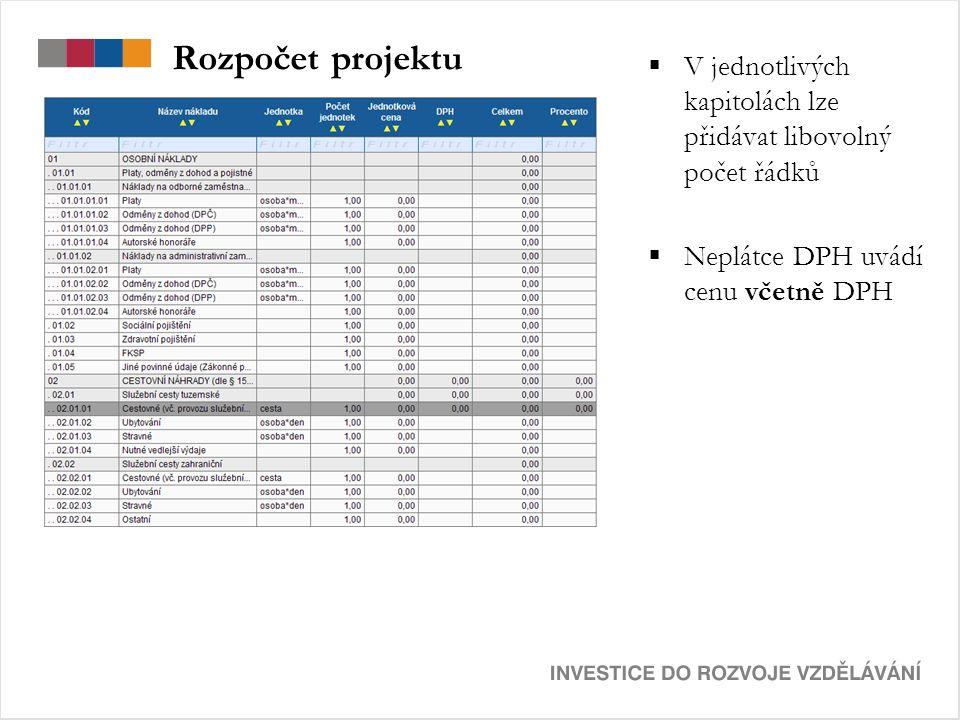 Rozpočet projektu  V jednotlivých kapitolách lze přidávat libovolný počet řádků  Neplátce DPH uvádí cenu včetně DPH